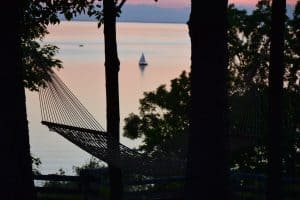 Egg Cottage Door County 2-person hammock sunset